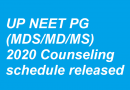 UP NEET PG (MDS/MD/MS) State Quota Counselling schedule released
